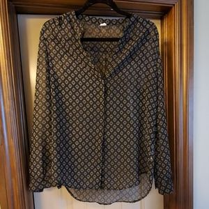 Black and white sheer button up blouse